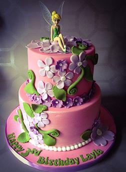 Tinkerbell Pink Garden Tiered Cake