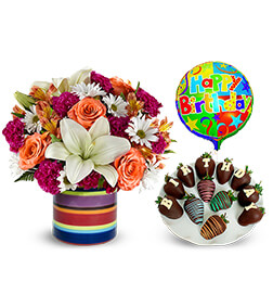 Birthday Meadow Bouquet, Strawberries and Balloon Bundle