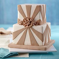 Burlap And Roses Cake