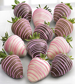 Pink Drizzles -Dozen Chocolate Dipped Strawberries