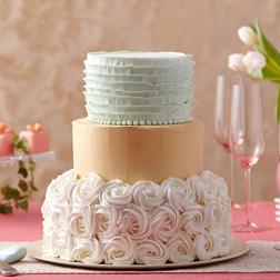 Golden Shimmer Rosette Cake
