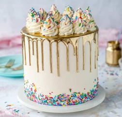 Golden Drip Sprinkle Cake