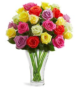 Nachtmann Calypso Vase Multicolor Roses Bouquet - VASE INCLUDED