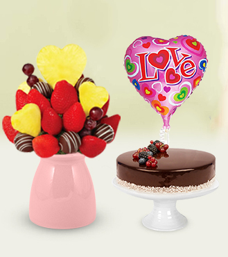 Love Forever - Sweetheart Fruit Bouquet, Vegan Cake, Love Balloon
