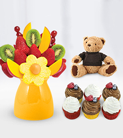 Bright Day - Fruit Bouquet, Vegan Cupcakes, Teddy Bear