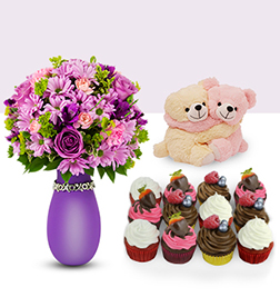 You & Me - Lovely Bouquet, Vegan Cupcakes, Teddy Bears