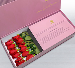 Moonlight Kisses - Long Stem Red Roses in Pink Box