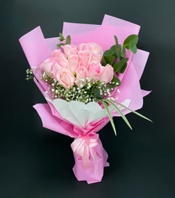 Passionate Pink Rose Hand Bouquet