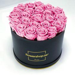 Exquisite 50 Pink Roses Hatbox