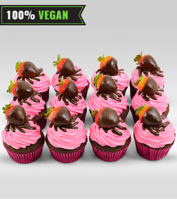 Vegan Strawberry Cupcakes - 12 Cupcakes