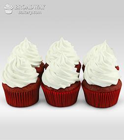 Vegan Red Velvet Cupcakes - 6 Cupcakes