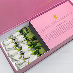 Tender Hearts - Long Stem White Roses in Pink Box
