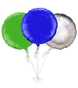 Balloon Bouquet: 3 Balloons (Blue, Green, Silver)