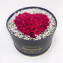 Stunning Rose Black Hatbox