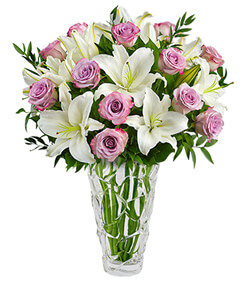 Nachtmann Petals Vase Purple Rose and Lily Bouquet - VASE INCLUDED
