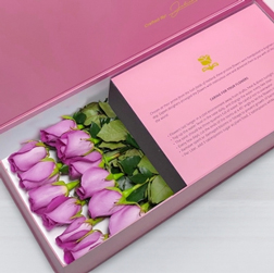 Forever Yours - Long Stem Purple Roses in Pink Box