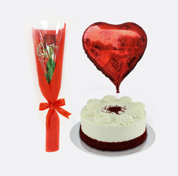 Perfect Romance Collection: Single Red Rose, Red Velvet Cake and Heart Balloon