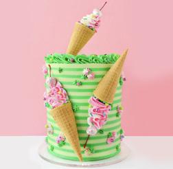 Ice Cream Cone Striped Cake