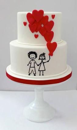 Balloon Hearts Tiered Cake